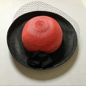 Vintage red and black hat